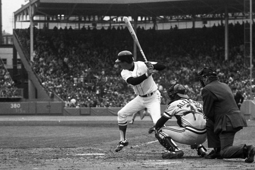 Carl Yastrzemski batting against Cleveland in 1978 or '79.