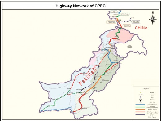 The route of CPEC in Pakistan