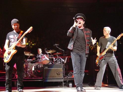U2 on Vertigo Tour concert  November 21, 2005, Madison Square Gardens, New York.
