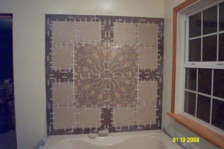 All tile in place drying and awaitng grout