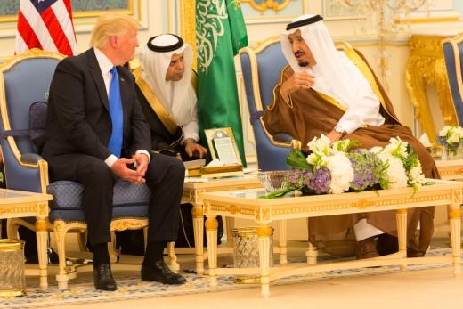 President Trump talks with King Salman at Riyadh Summit 2017