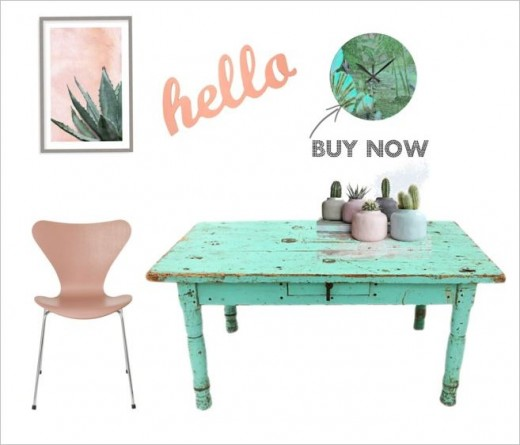 Shabby beach home decor in aqua and pink. Cool tropical home accents and clock.