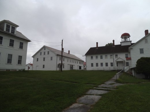 The Canterbury Shaker Village on a drizzly day.