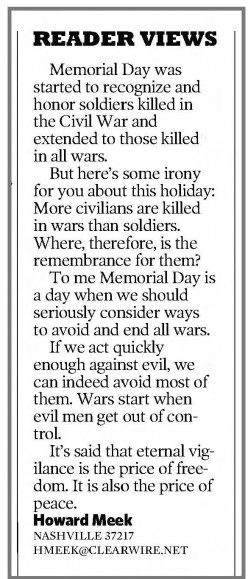 Civilians Aren't Meant to be Honored on Memorial Day