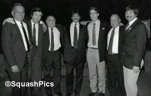 A classical picture showing British open Greats Jahangir Khan (10 times champion), Geoff Hunt (8), Hashim Khan (7), Jonah Barrington (6), Azam Khan (4), Roshan Khan and Qamar Zaman (1 each).