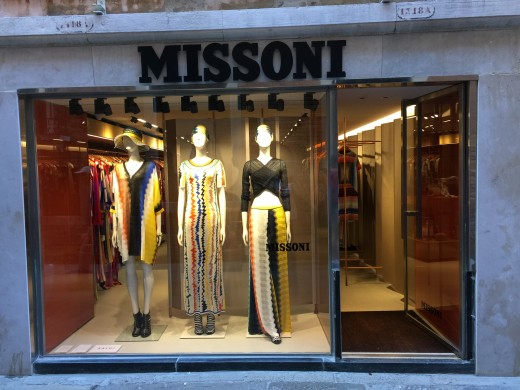 The window of the Missoni store in Venice , Italy, near St. Mark's Square