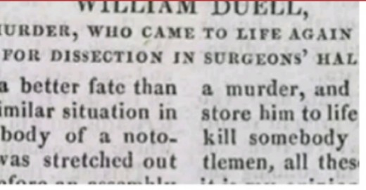 An extract from an old magazine reporting how William Duell survived the death penalty.