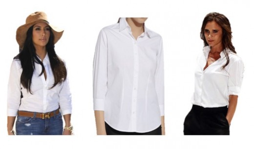 The Classic White Shirt (Extreme Left - Kim Kardashian, Extreme Right - Victoria Beckham)