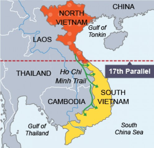 North and South Vietnam.
