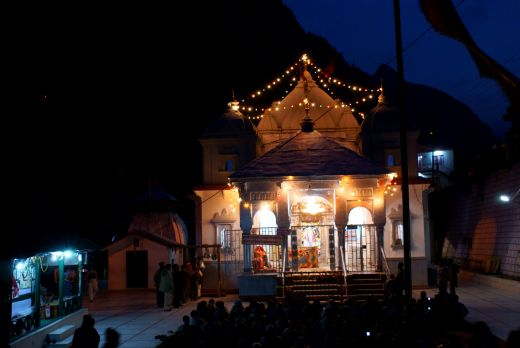 The temple of Gangotri at night