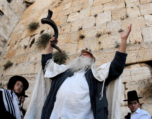 Prayer before Yom Kippur at the Western Wall in Jerusalem's Old City.