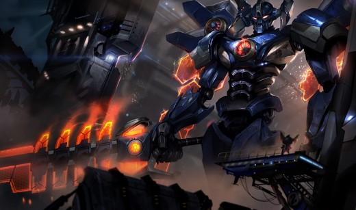 Splash art for the Mecha Aatrox skin