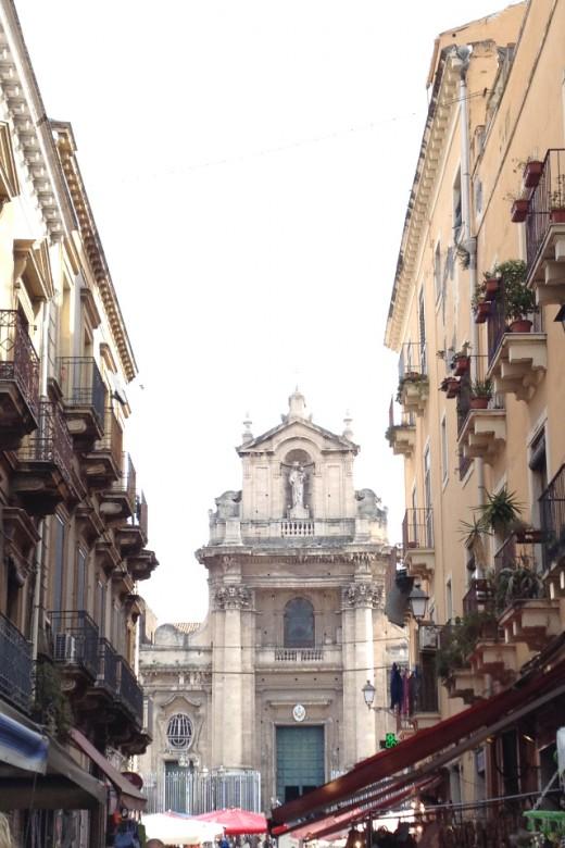View towards the Public Market in Piazza Carlo Alberto