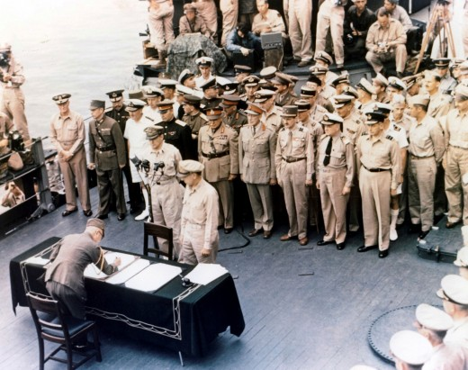 General Douglas MacArthur takes the Japanese unconditional surrender aboard USS 'Missouri', September 2nd, 1945