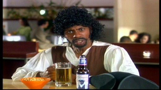 Dave Chappelle impersonating and promoting celebrity Samuel L. Jackson's beer. Image copyright of Comedy Partners.