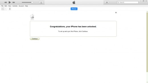 "A message appears in the iTunes window saying ""Congratulations, your iPhone has been unlocked"""