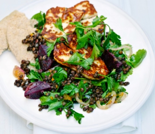 Citrus-infused lentil salad with halloumi cheese