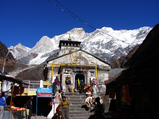 The Kedarnath temple at the foot of the mighty Kedarnath range of mountains.