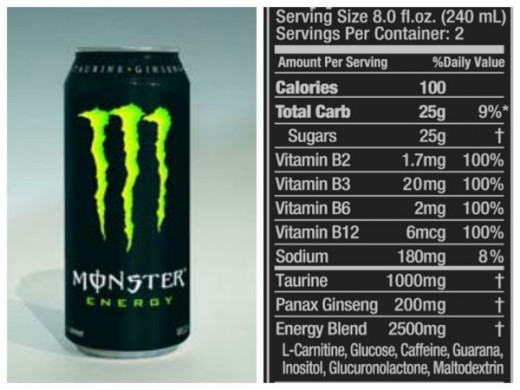 Monster's Nutrition Label