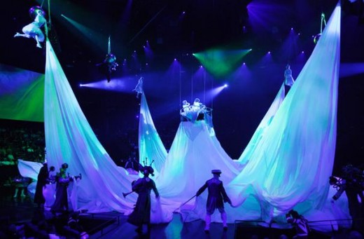 The ocean sweeps over the audience as this giant cloth is pulled across the theater, however it stops halfway up. While this effect is very cool, if you are sitting too close to the stage you can't see above the cloth.