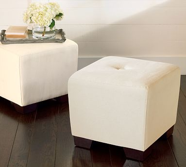 Upholstered square coffee tables from Pottery Barn.