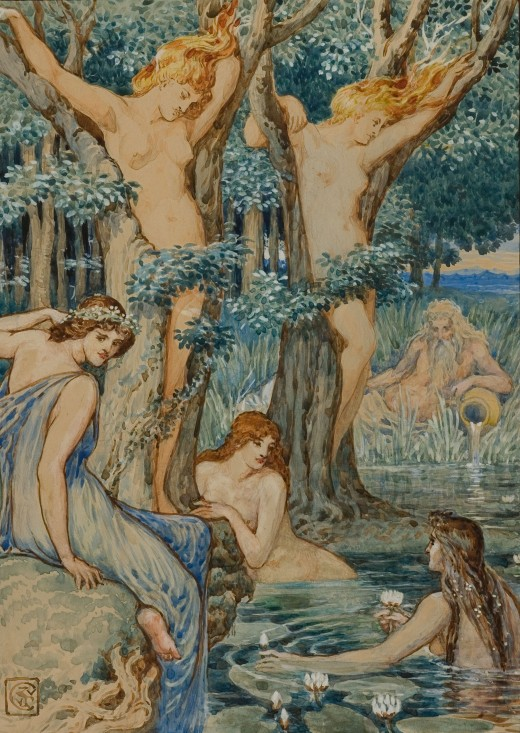 Nyads and Dryads were spirits of water and trees in Greek mythology.