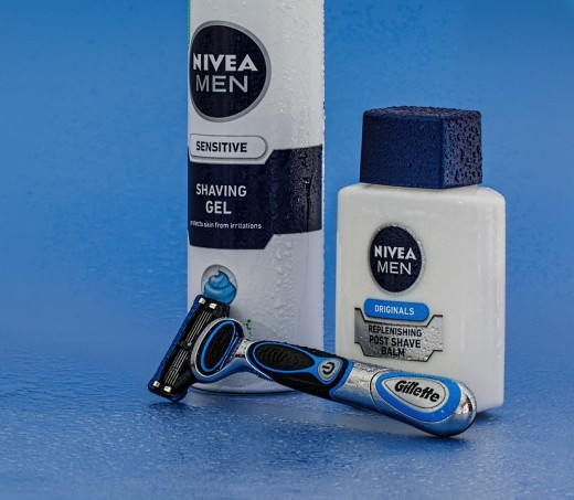 Don't be afraid of men's products. They are often sold in sets with exfoliates, razors and moisturizers in one package.