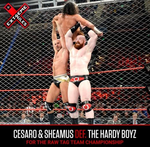 Cesaro and Sheamus Powerbomb Matt Hardy. Photo: WWE