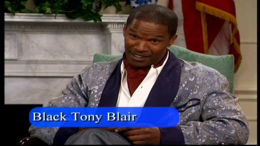 The Black Tony Blair, played by Jamie Foxx in a guest star role during the Black Bush sketch. Image copyright of Comedy Partners.