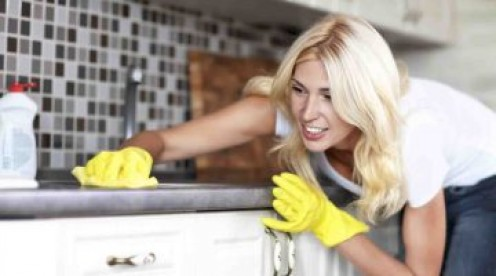 Wiping kitchen counter top forms an important part of house tidy-up.