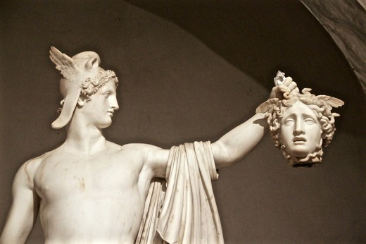 Perseus and the slaying of Medusa. Immortalised in marble by Antonio Canova and one of the most famous Greek myths.