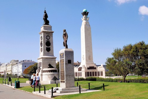 Plymouth Hoe showing the War Memorial. the Francis Drake statue and The RAF and Allied Forces Monument