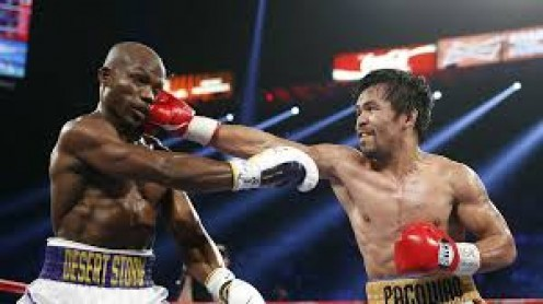Manny Paquiao (right), seen her beating on Timothy Bradley, is boxing's only 8 weight class world champion.