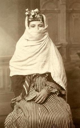 Circa 1867-1885. (A combination hijab and niqab)