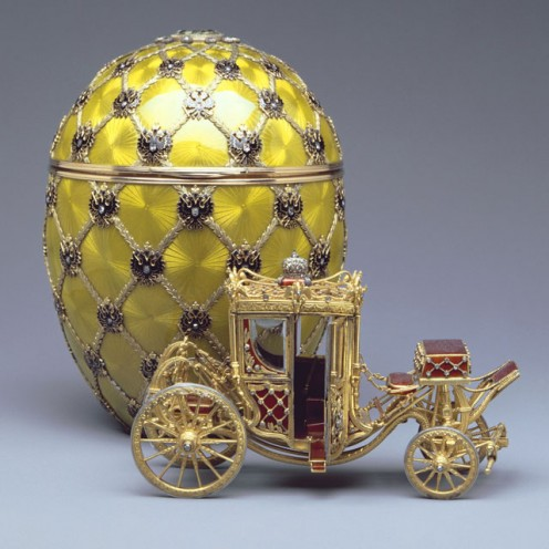 The Coronation Egg of 1897 was presented by Emperor Nicholas II to his wife, Empress Alexandra Feodorovna, as a memento of her arrival in Moscow on the day of their Coronation.