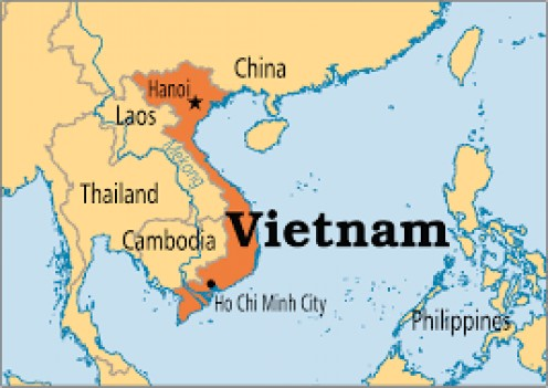 The map above shows Vietnam and surrounding countries.