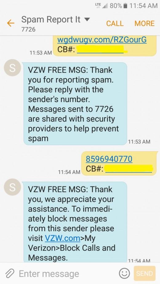 Report spam text with phone handset