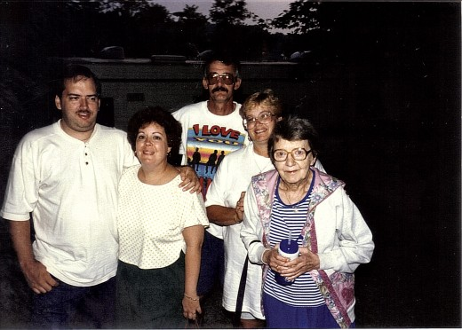 At the camp grounds with my girlfriend Diane, Brother Al, and my mother.