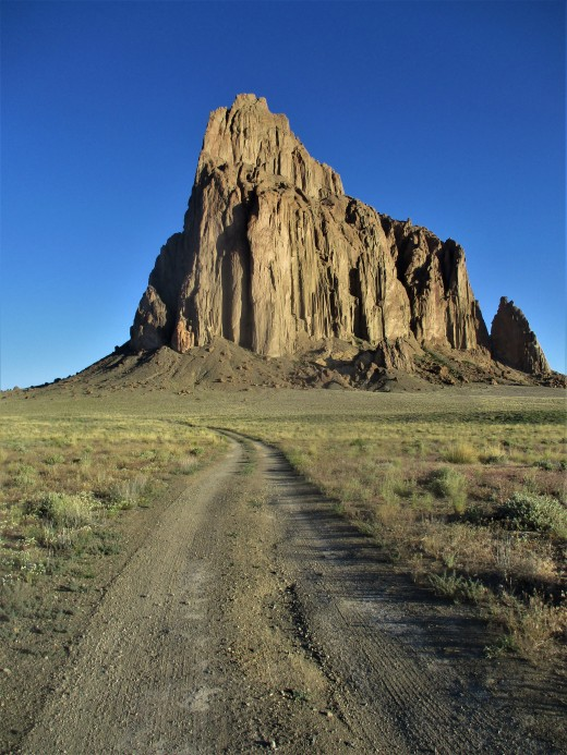 Shiprock is visible for many miles, but to approach the historic rock, one has to go off the beaten path, photo by author