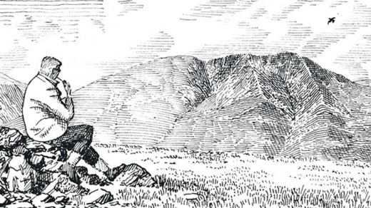 One of many drawings by Alfred Wainwright to illustrate his books on Lakeland walks as well as the Coast-to-coast walk. He's drawn himself into the left side of  this drawing