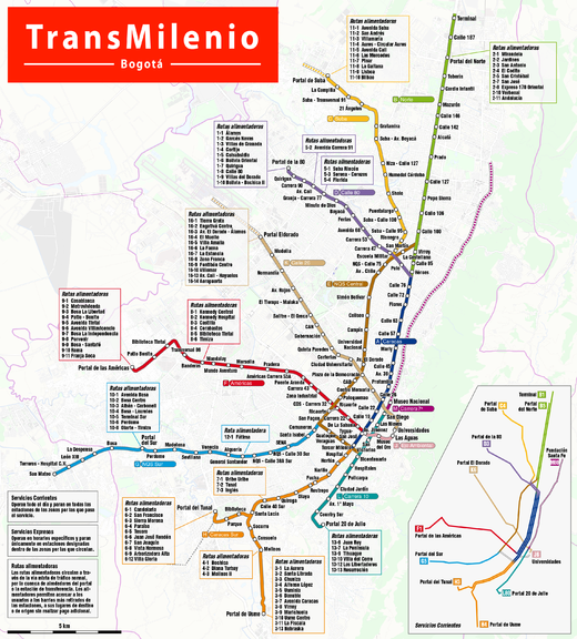 TransMilenio system map as of April 2017