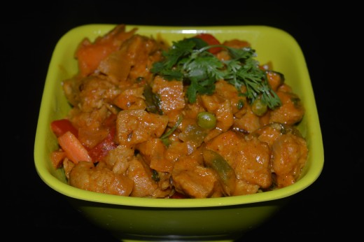 Soya Chunks Vegetables Curry