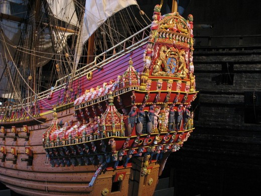The stern of a model of the ship Vasa on display at the Vasa Museum.