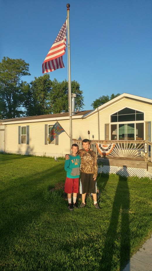 Our new home, and Tyler and Austin on their last day of 4th and 6th grade!