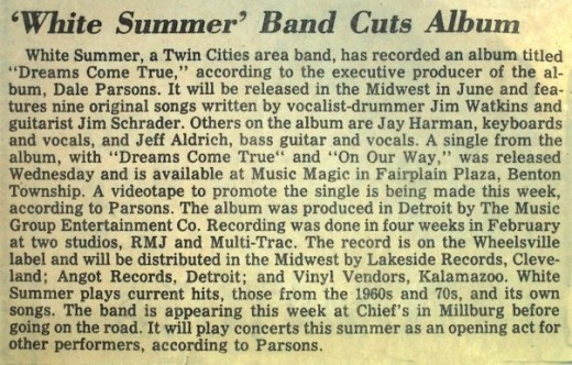 THE WHITE SUMMER BAND PRESS RELEASE FOR 4TH ALBUM