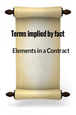 Elements in a Contract X - Terms implied by fact