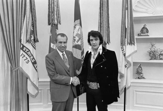 Left- Richard Nixon.   Right-Elvis Aaron Presley
