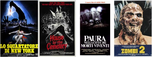 "Posters for Lucio Fulci's ""New York Ripper,"" ""House By The Cemetery,"" ""City Of The Living Dead,"" and ""Zombie"""