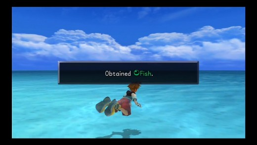 fish can be obtain out at sea, also make sure you find that hidden area too find the last mushroom.