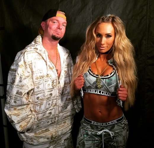 James Ellsworth and the first Womans Money In The Bank Winner, Carmella. Photo: WWE